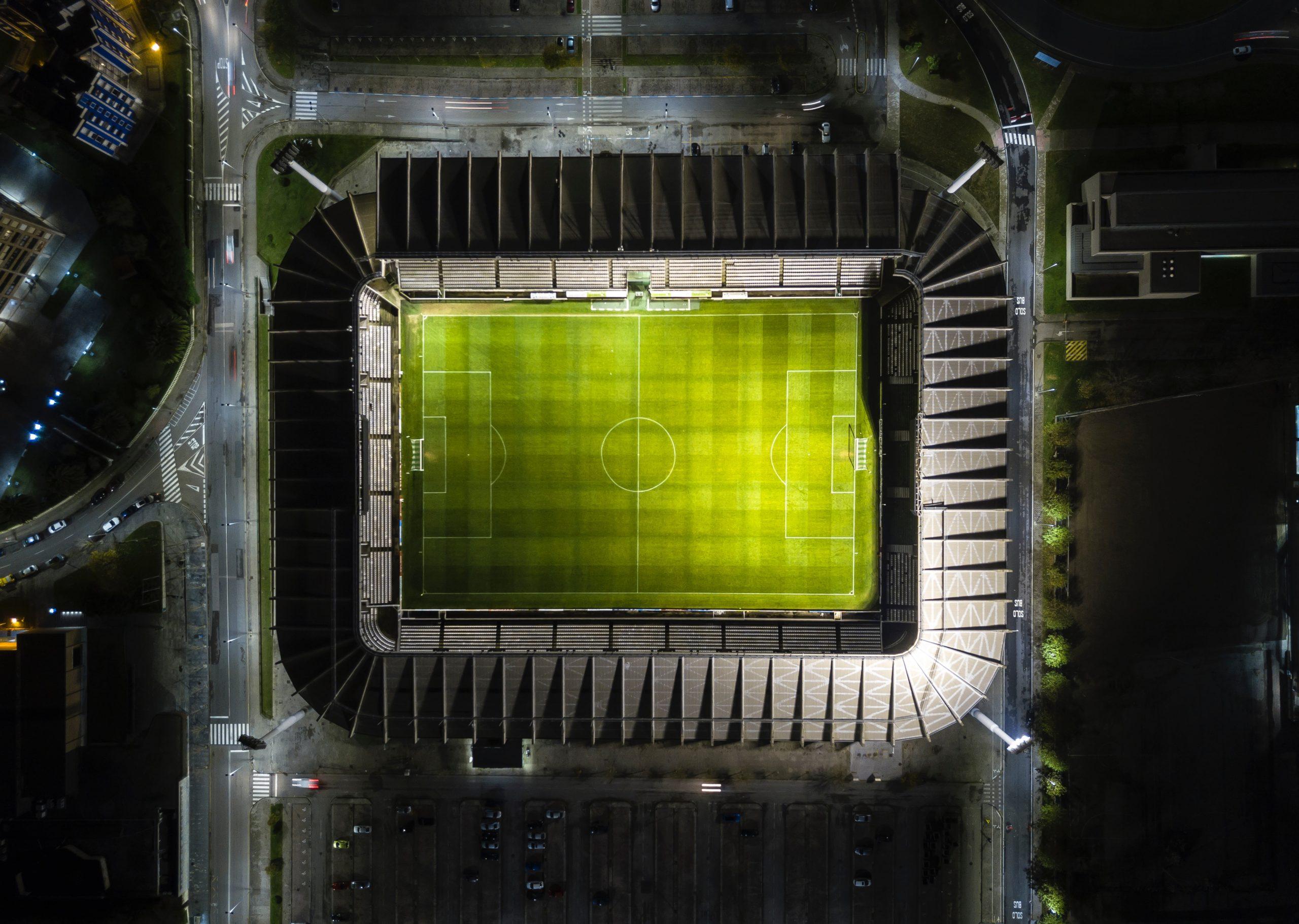 Birds eye view of large football stadium